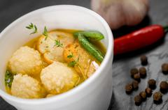 Delicious portion of cream soup with crackers Stock Photos