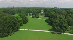Aerial view of Munich with Monopteros Stock Footage