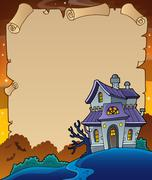 Parchment with haunted house thematics - eps10 vector illustration. Stock Illustration