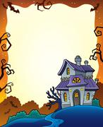 Halloween frame with haunted house - eps10 vector illustration. Stock Illustration