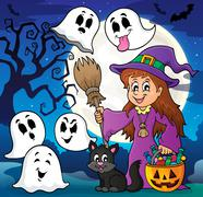 Stock Illustration of Cute witch and cat with ghosts - eps10 vector illustration.
