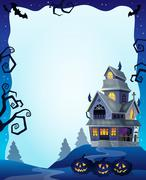 Halloween frame with haunted house - eps10 vector illustration. - stock illustration