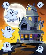 Ghosts flying around haunted house - eps10 vector illustration. Stock Illustration