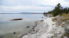 Looking south down the shoreline of Yellowstone Lake Stock Footage