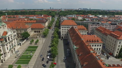 Aerial view of Munich with museums and garden Stock Footage