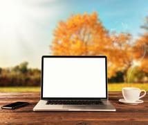 Stock Photo of Laptop on wooden table in autumn season