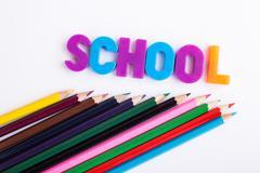 School stationery on white background Stock Photos