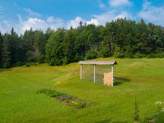 Typical slovenian hayrack on meadow - stock photo