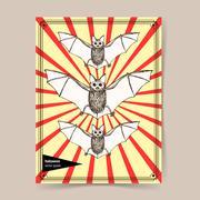Sketch bat in vintage style Piirros