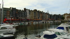 France - Honfleur -  Historic Buildings and Boats in Beautiful Harbor 2 Stock Footage