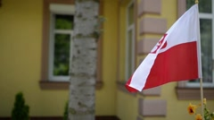 Polish flag fluttering in wind Stock Footage