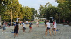 Stock Video Footage of VolleyBall Sand recreation 04