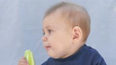 Kid eating healthy food Stock Footage