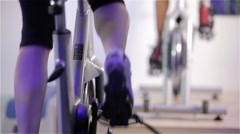 Spinning class: feet cycling Stock Footage
