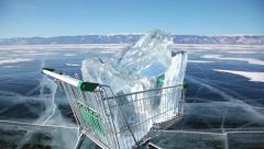 The trolley rolls on the frozen surface of Lake Baikal Stock Footage
