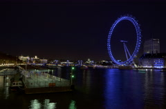 4k Time lapse of River Thames and London Eye at night Stock Footage