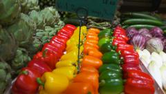 Fresh vegetable shop - vegetables stall : cabbage, bell pepper... panoramic shot Stock Footage