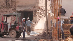 Construction site, Kashgar Old Town, China Stock Footage