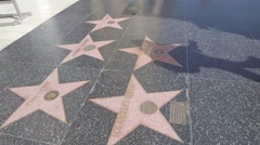 Hollywood walk of fame - stock footage