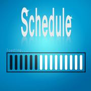 Blue loading bar with schedule word - stock illustration