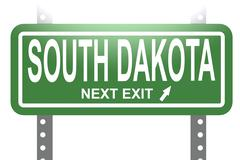 South Dakota green sign board isolated Stock Illustration