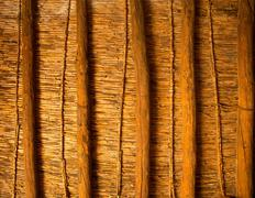 Mediterranean cane roof in traditional wooden roofing Stock Photos