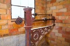 steelyard roman balance romaine grunge antique - stock photo