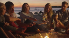 Group of People near Campfire Frying Marshmallows Stock Footage
