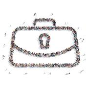 People  shape  briefcase isolated Stock Illustration