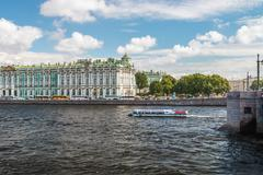 View of Winter Palace from Neva river Stock Photos