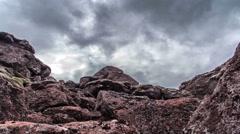 Creepy rocky boulder landscape, dark sky slider dolly pan 4k Stock Footage