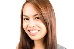 Portrait Genuine Real Asian Girl Smiling Headshot - stock photo