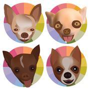 Chihuahua 4Head Fancy - stock illustration