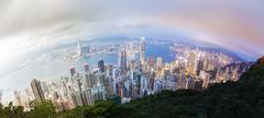 Panoramic day to night transition of Hong Kong - stock photo