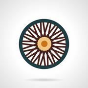Single wheel flat vector icon - stock illustration