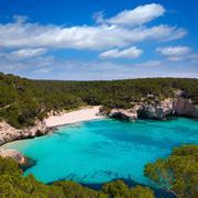 Cala Mitjana y Mitjaneta in Menorca Ciutadella at Balearic - stock photo