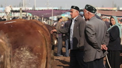 Uighur farmers at livestock market, China Stock Footage