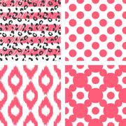 Ikat vector seamless pattern. Abstract geometric background for fabric, print or - stock illustration