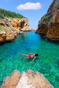 sAlgar beach Cala Rafalet in Menorca at Balearic Islands - stock photo