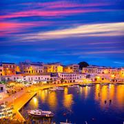 Calasfonts Cales Fonts Port sunset in Mahon at Balearics - stock photo