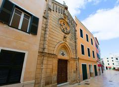 Ciutadella Menorca carrer Mao church downtown Stock Photos