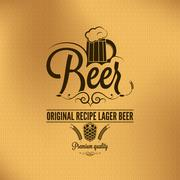 beer vintage background lager hops and barley - stock illustration