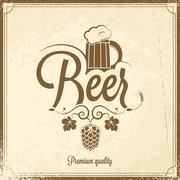 Beer mug vintage background Stock Illustration