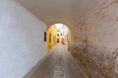 Stock Photo of Menorca Carrer de Sant Climent barrel vault passage