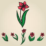 Floral doodling flowers like narcissus set Stock Illustration