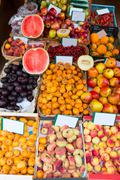 Mediterranean summer fruits in Balearic Islands market Stock Photos