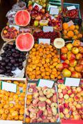 Mediterranean summer fruits in Balearic Islands market - stock photo