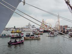 Amsterdam harbour during Sail 2015 - stock photo