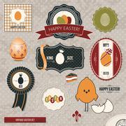 Easter labels vintage set Stock Illustration