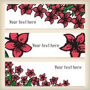 Set of horizontal banners with doodling flowers like narcissus in tattoo style Stock Illustration